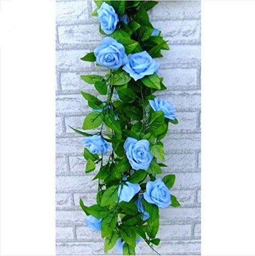 Artificial Rose Silk Flower Green Leaf Vine Garland Home Wall Party Decor Wedding Decal (light blue)