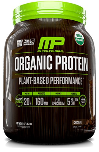 MusclePharm Plant Based Protein Powder, Certified USDA Organic, All Natural, Probiotics, Gluten Free, Non GMO, BCAA's, Chocolate, 30 servings by Muscle Pharm