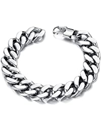 Men's Stainless Steel Bracelet 14mm Width Curb Chain Link Bracelet