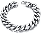 Men Stainless Steel Chain Bracelet Round Curb Link Wrist 14mm Silver Tone