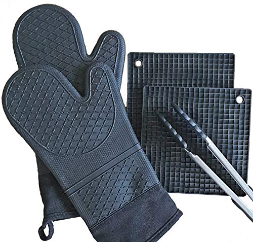 All My Delight Black Silicone Oven Mitts Potholders and Stainless Steel Silicone Tong, Kitchen Counter Safe Trivet Mats, Advanced Heat Resistant, New Increased Slip-Resistance, 5 Pieces-Set