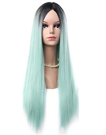 amazon green wig with black roots middle part long straght wigs