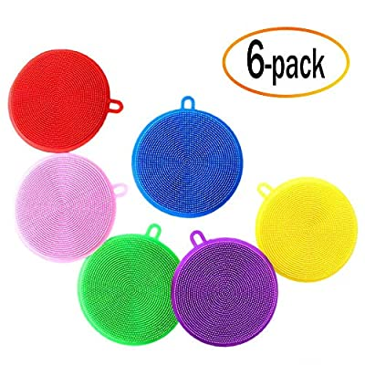 ANCIRS 6 Pack Silicone Sponge Dish Kitchen Multipurpose Cleaner Non Stick Brush BPA Free Washer Mixed Color