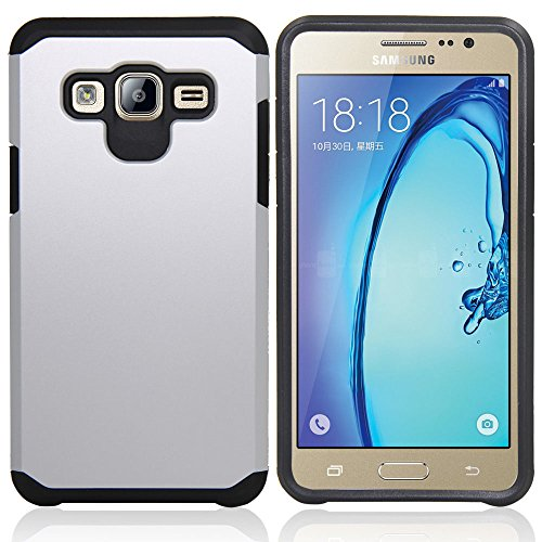 Galaxy J7 Neo J701M/J7 Nxt J701F/J7 Core J701 Case, With Screen Protector & Stylus, Telegaming Dual Layer Defender Impact Resistant Armor Cover For Samsung Galaxy J7 J700/Core Duos J701FZ Silver