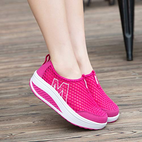 Shoe Red XHCHE Casual Loafers Breathable Shoes Air Flats Fashion Increasing Women Womens Mesh Walking Height Sport ZBZHr6qEw