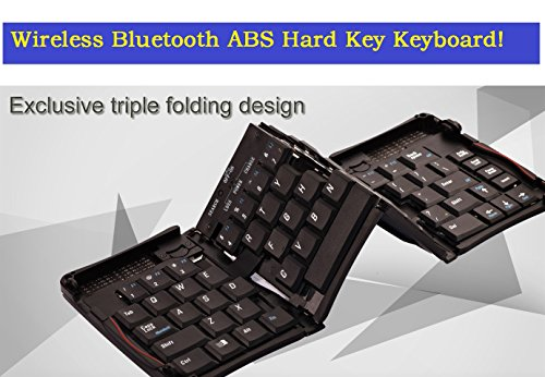 "Price comparison product image TOP® Quality Android / iOS Tablet External Wireless Bluetooth Keyboard,  Galaxy Tablet Keyboard,  ABS HARD KEY Triple Folding Keyboard for iPad,  iPhone,  Galaxy S3 / S4 / S5 / S6 / S7 / Note 2 / Note 3 / Note 4 / Note 5. Foldable Keyboard for Galaxy Tab 3 7 / 8 / 10"" tablet,  Folding Keyboard for Galaxy Tab Pro / Note 10.1 Tablet. External Keyboard for Mobile phone and Tablet,  Bluetooth Keyboard for Android and Any Other Device with Bluetooth Function"