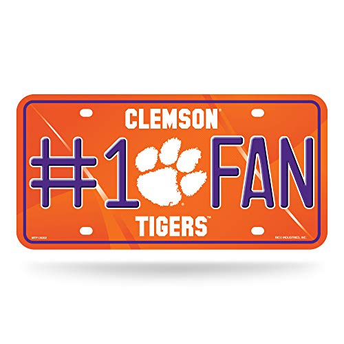 NCAA Clemson Tigers #1 Fan Metal License Plate Tag