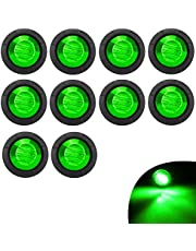 KYYET 10 Pcs 3/4 Inch Mount LED Rear Side Marker Indicator Lights for Trucks, Traile ,Cab Marker, RV Marker,Marine Led Utility Strip Light for Boats ,Taillight Brake Stop Lamp12V