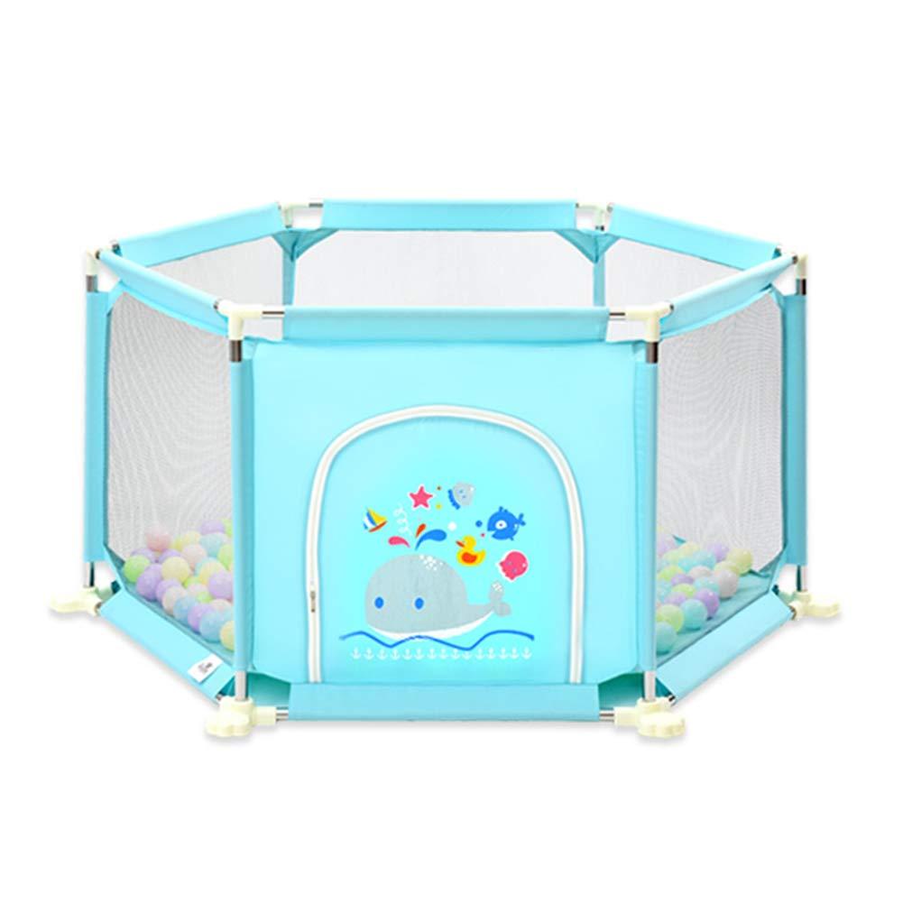人気アイテム ベビーサークル, 73cmの高さ ポータブル6パネル乳幼児用プレイプレーン、100ボールとクロールマット付き B07JFKM5SL、屋内用アンチロールオーバーPlayヤード - 73cmの高さ (色 : : 青) 青 B07JFKM5SL, sbc:9b659f2c --- a0267596.xsph.ru