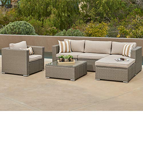 SUNCROWN Outdoor Furniture Sectional Sofa and Chair (6-Piece Set) All-Weather Checkered Wicker with...