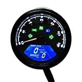 Motorcycle Speedometer Odometer,MeiLiio Waterproof Multi-functional Digital Instrument Motorcycle Speedometer Odometer Gauge Backlit Dual Speed meter with LED Indicator