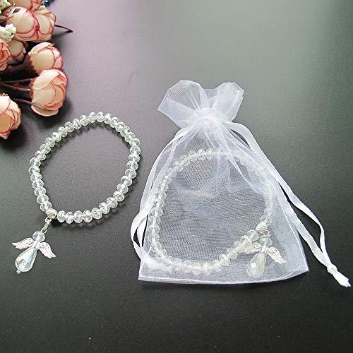 Crystal Angel Charm Bracelet Clear 12 PCS - Baptism Favor/Christening Favor/Recuerdos de Bautizo/Quinceanera/Baby Shower ()