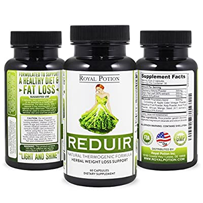 Reduir Herbal Weight Loss Supplement Fat Burner Appetite Suppressant Diet Pill Natural Thermogenic Formula (60 Caps) With Raspbery Ketones, Green Tea Extract, Caffeine. Especially Formulated for Woman