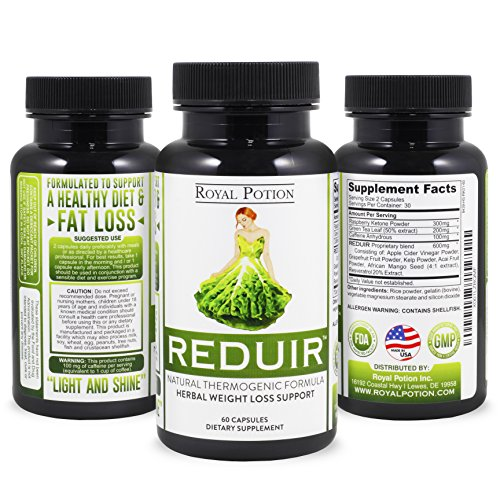 Reduir Herbal Weight Loss Supplement Fat Burner Appetite Suppressant Diet Pill Natural Thermogenic Formula (60 Capsules) Especially Formulated for Women