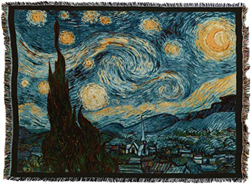 Pure Country Weavers - Starry Night Van Gogh Woven Tapestry Throw Blanket with Fringe Cotton USA Size 72 x 54