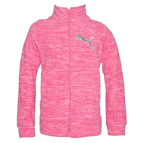 PUMA Girls' Full Zip Jacket (Hot Pink Heather, Large(12/14))