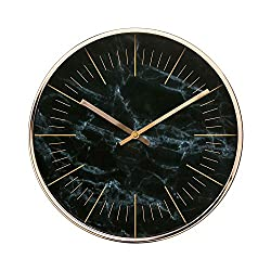 "Luxury Modern 12"" Silent Non-Ticking Wall Clock with Rose Gold Frame (Marble Black)"