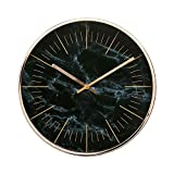 "Arospa Luxury Modern 12"" Silent Non-Ticking Wall Clock with Rose Gold Frame (Marble Black)"
