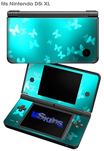 Bokeh Butterflies Neon Teal - Decal Style Skin fits Nintendo DSi XL (DSi SOLD SEPARATELY) by WraptorSkinz