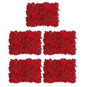 Fenteer 5pcs Pack Silk Artificial Rose Flower Wall Panels Wedding Backdrop Photo Props 7