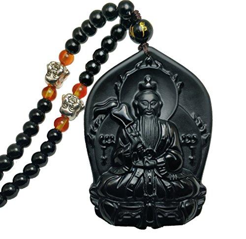 clin-kk Natural Obsidian Exquisite craftwork Famous Taoism Tai Shang Lao Jun Buddha Pendant Necklace