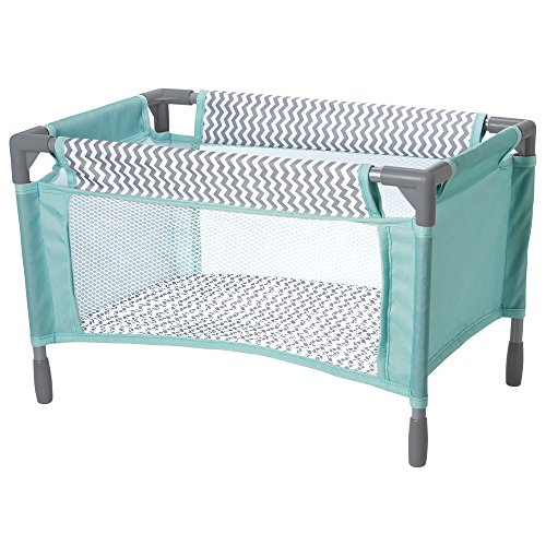 (Adora Zig Zag Playpen Bed Crib Toy with Carry Bag for Baby Dolls up to 16 Inches)