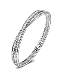 """LadyColour """"Waltz of Love"""" Bangle Bracelets 7"""" For Girls & Women, Made With Swarovski Crystals"""