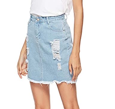 3ef8063ca7 Hmarkt Women Casual Cutoff Slim Distressed Destroyed Ripped Denim Midi Skirt  Light Blue US M