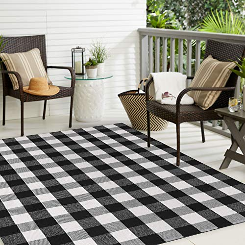MUBIN Buffalo Plaid Rug Black&White Checked Rugs 5ft x 6.5ft Cotton Washable Hand-Woven Outdoor Area Rugs for Sofa, Living Room, Dining Room, Bedroom (5' x 6.5', Black&White)