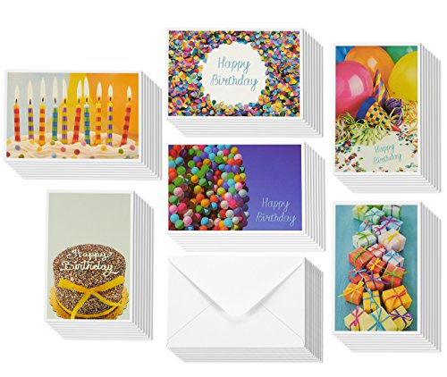48 Greeting Cards - Happy Birthday Cards 6 Different Photo Party Elements, Envelopes Included - 4 x 6 Inches