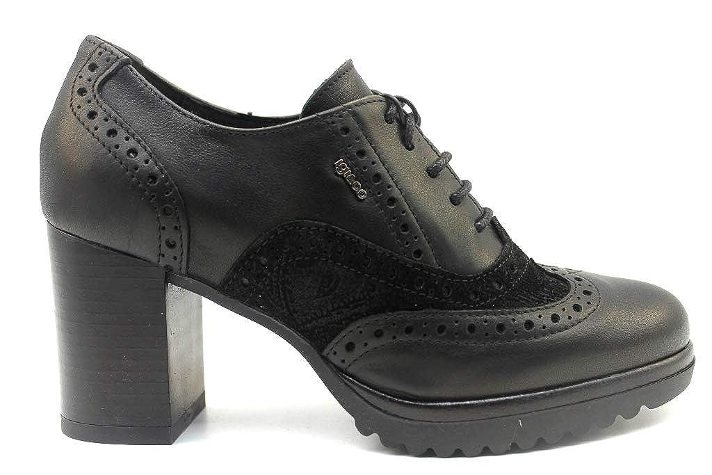 IGIeCO 2194200 Negro Oxford Mujer con Plataforma