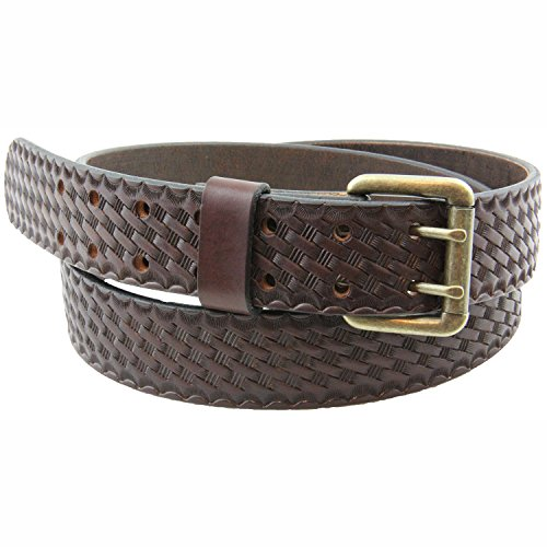 1 1/2 Harness Sunset Basket Weave Leather Belt Double Hole Made in USA Size 52 (Baskets Made To Order)