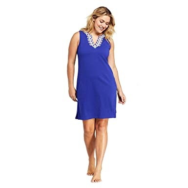 a17e8d5499 Lands  End Women s Plus Size Cotton Jersey Embelished Sleeveless Tunic  Dress Swim Cover-up
