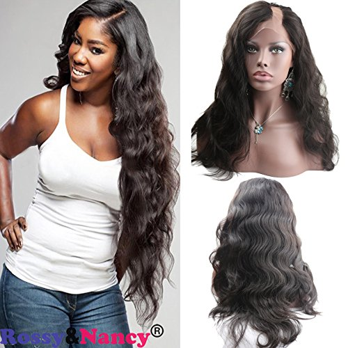 Rossy&Nancy U Part Human Hair Wigs Left Part Natural Black Color Body Wavy Style Lace Front Wig with Baby Hair 12inch (U Part Wig Human)
