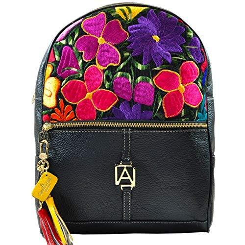 Chiapas Designer Women's Leather HandMade BackPack (Black) [並行輸入品] B07K1HRJ8X