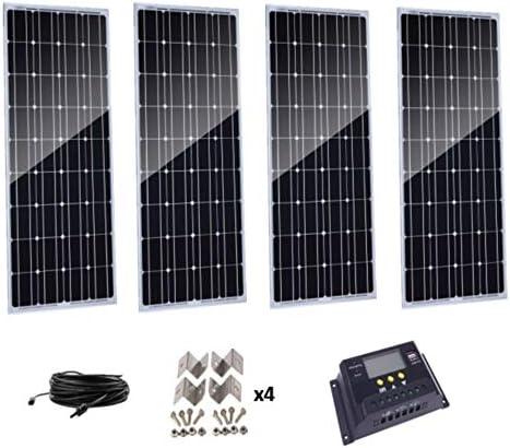 AUECOOR 400 Watt Solar-Set: 4 Stück 100 W Solarpanele + 30 A 48 V LCD PWM Laderegler + 5 m Solarkabel + Z-Halterungen für Wohnmobil, Boot, Kabine, Off-Grid System