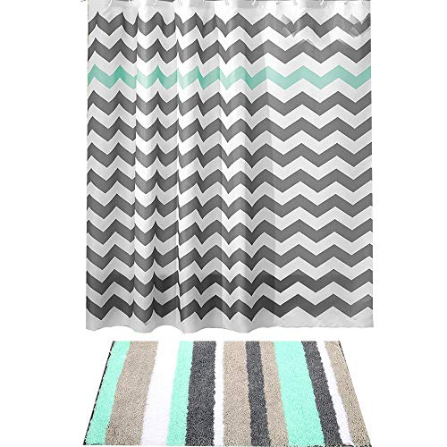 HEBE Non-Slip Striped Microfiber Bathroom Mat with Fabric Shower Curtain Set,Bathroom Rug Mat Shower Curtain Set of 2 Machine Washable (Rugs Matching And Curtains)