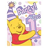 Pooh's First Birthday Girl Party Invitations, 8ct