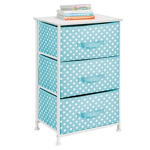 mDesign 3-Drawer Vertical Dresser Storage Tower - Sturdy Steel Frame, Wood Top and Easy Pull Fabric Bins - Multi-Bin Organizer Unit for Child/Kids Bedroom or Nursery - Turquoise with White Polka Dots