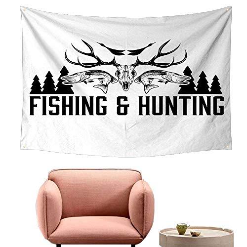 - Room Tapestry Hunting Decor Hunting and Fishing Vintage Emblem Design Antler Horns Mallard Pine Tree Wall Tapestry for Bedroom 90