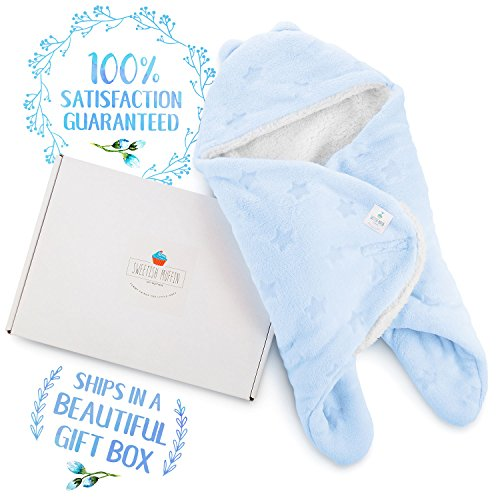 Baby Shower Gift For Little Boys-Newborn Baby Kids Receiving Nursery Wrap-Blanket-Swaddle-Super Soft -100% Plush Fleece Double Layered Fabric - Blue Stars- With Gift Box (Blue) ...