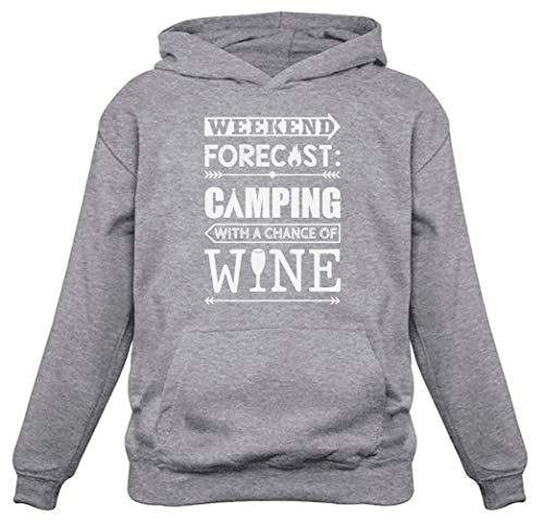 Tstars Weekend Forecast Camping with Wine Funny Gift Women Hoodie X-Large Gray