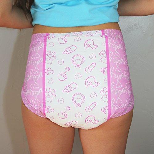 LittleForBig Printed Adult Brief Diapers Adult Baby Diaper Lover ABDL 10 Pieces - Nursery Pink(Medium)