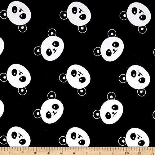 Michael Miller Minky Panda Fabric by The Yard, Black