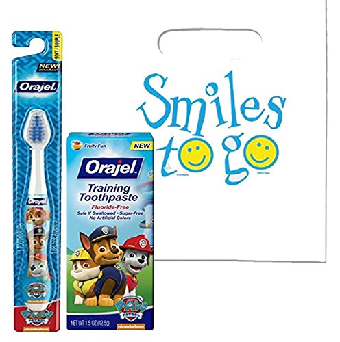 Paw Patrol 2pc. Little Pup's Toddler Training Oral Hygiene Set! Paw Patrol Soft Manual Toothbrush & Fluoride Free Training Toothpaste! Plus Dental Gift Bag & Tooth Saver Visual Aid!