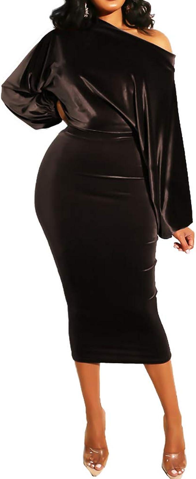 One Shoulder Dress Pencil Midi Party Club Bodycon Evening Cocktail Dresses Women