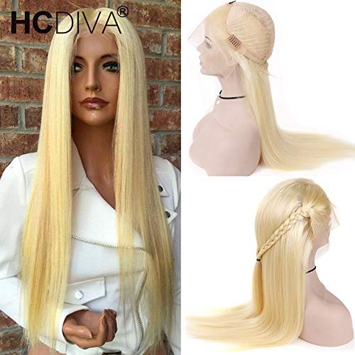 #613 Blonde Human Hair Wigs Brazilian Virgin Remy Hair Straight Human Hair Lace Front Wigs for Black Women #613 Lace Frontal Wig Free Part 130% Density (20 inch) from HCDIVA