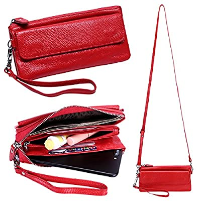Itslife Women's Leather Smartphone Wristlet Crossbody Clutch with RFID Blocking Card Slots
