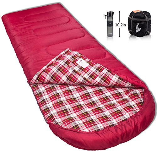 Reisen 0 degree lightweight sleeping bag flannel, cold weather sleeping bags for adults/youth,camping/backpacking/hiking -0°C