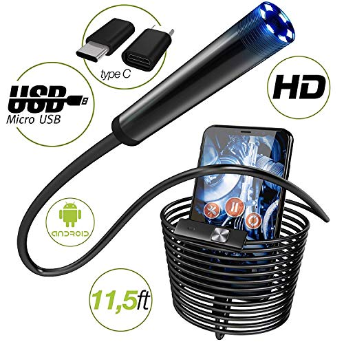 Endoscope - Borescope - Endoscope Android - USB Endoscope Borescope - Micro USB - USB C Inspection Camera - Waterproof LED Automotive Vehicle Bore Drain Digital HD Semi-Rigid OTG Android Case